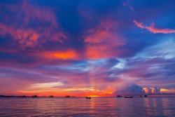 Beautiful sunset in Pattaya Thailand.