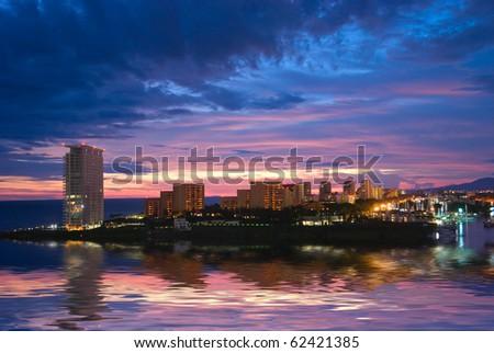 Beautiful sunset in Puerto Vallarta, Mexico