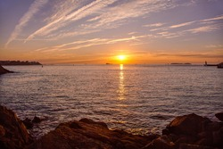 Beautiful sunset in Saint Malo. France. Brittany