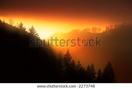 beautiful sunset in the mountains - stock photo