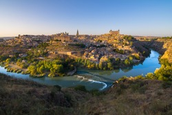 Beautiful sunset in Toledo city from Mirador del Valle viewpoint - Toledo, Spain