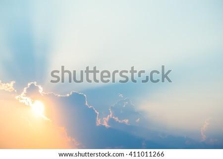 Beautiful sunset light rays clouds background Stock photo ©