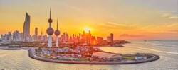 Beautiful Sunset of Kuwait City Landscape