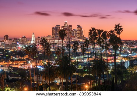 Beautiful sunset of Los Angeles downtown skyline and palm trees in foreground #605053844