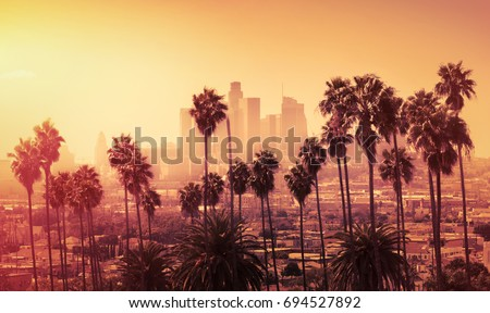 Beautiful sunset of Los Angeles downtown skyline and palm trees in foreground #694527892