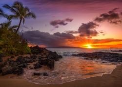 Beautiful Sunset on a Hawaiin beach