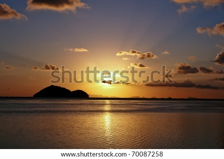 Beautiful sunset on a Thai beach, Ko Pha Ngan.