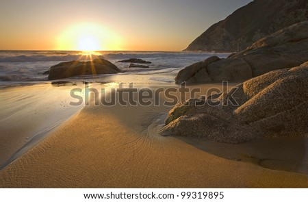 Beautiful sunset on beach near Pacifica, California