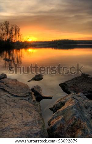 Beautiful sunset on Chambers Lake, Pennsylvania. #53092879