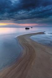 Beautiful sunset on Finnish gulf in Baltic Sea in Estonia.