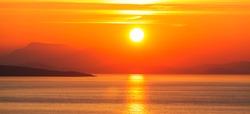 Beautiful sunset on Greece coast