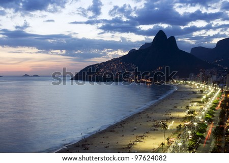 Beautiful sunset on Ipanema Beach in Rio de Jneiro,Brazil