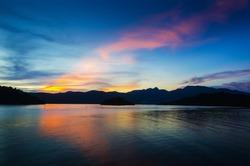Beautiful Sunset on mountain, soft focus.