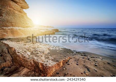 beautiful sunset on ocean beach, natural summer background