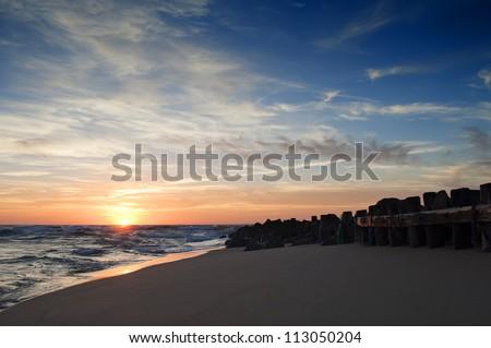 beautiful sunset on the beach in Vieux Boucau