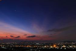 Beautiful sunset on the city