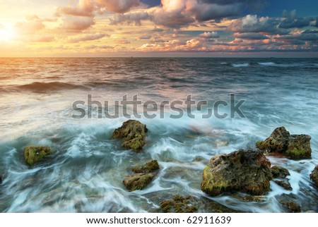 Beautiful sunset on the sea. Nature composition.