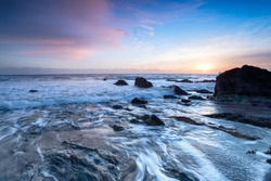 Beautiful sunset on the south coast of Cornwall at Portwrinkle on Whitsand Bay