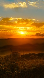 Beautiful sunset on the top of the hill Morro do Schmidt