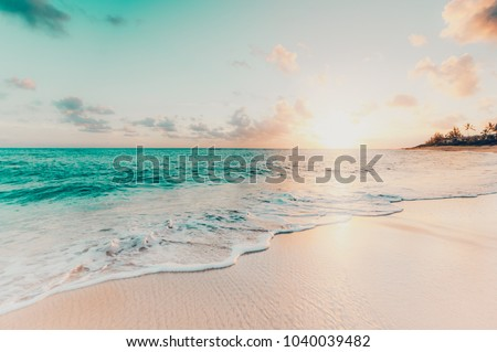Beautiful sunset on the tropical beach and sea landscape. Tropical beach with white sand #1040039482