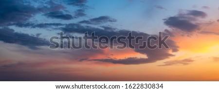 Beautiful sunset or sunrise above the sea. Tropical sunset or sunrise over sea. Colourful sunset or sunrise over water.