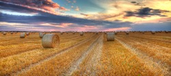 Beautiful sunset over a field with bales of hay.