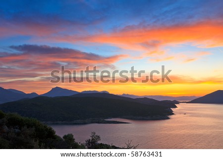 Beautiful sunset over Aegean sea, Greece - stock photo