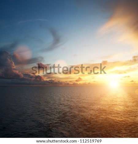 Beautiful sunset over an ocean