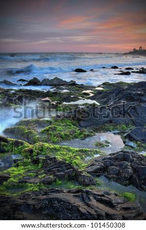 Beautiful sunset over Costa del Sol.