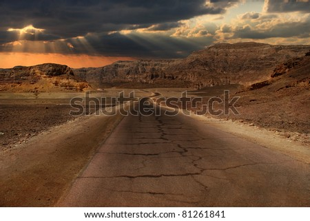 Beautiful sunset over hills and mountains of Arava desert in Israel.