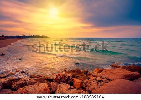 Beautiful sunset over sea in Tel Aviv-Jaffa, Israel #188589104