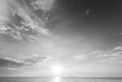 Beautiful sunset over sea of Thailand. Black and white photo.