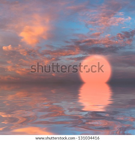 Beautiful sunset over sea with reflection in water, majestic clouds in the sky #131034416