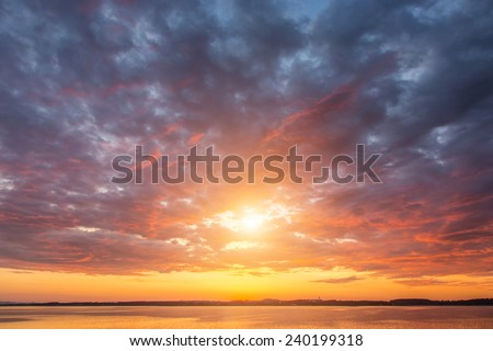 Beautiful sunset over the lake Alps Austria