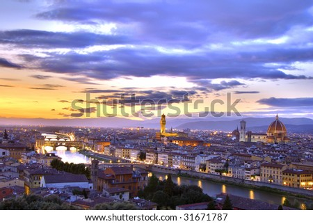 Beautiful sunset over the river Arno in Florence, Italy, HDR