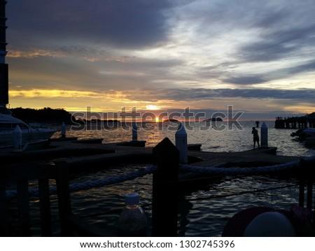 Beautiful Sunset panorama #1302745396