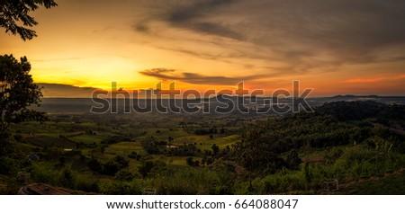 Beautiful sunset panorama of the sunset at Khao Kho Viewpoint Phetchabun Province. #664088047