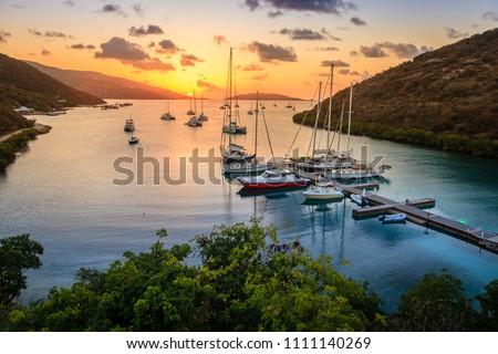 Beautiful sunset scene on the island of Virgin Gorda in BVI Stock fotó ©