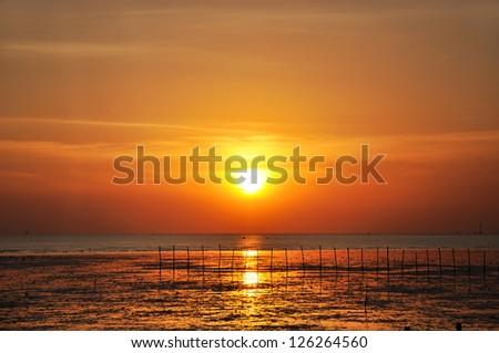 Beautiful sunset scenery from the seashore