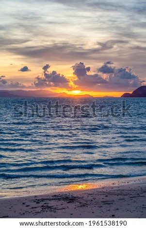 Beautiful sunset scenes at the Lo Jak pier in Thailand Zdjęcia stock ©