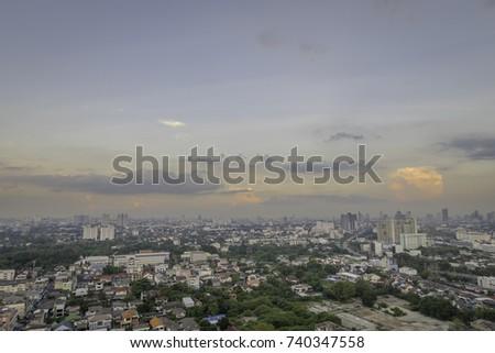 Beautiful sunset scenic in Bangkok city near Nontaburi province. #740347558