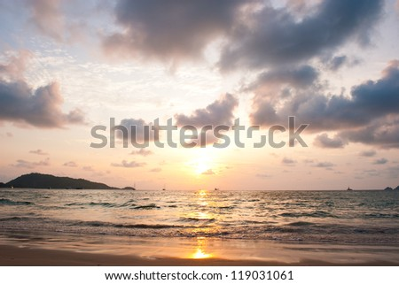 Beautiful sunset sea