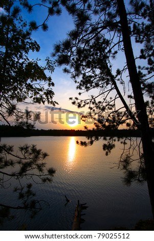 Beautiful sunset seen through pine trees over a northwoods Wisconsin lake.