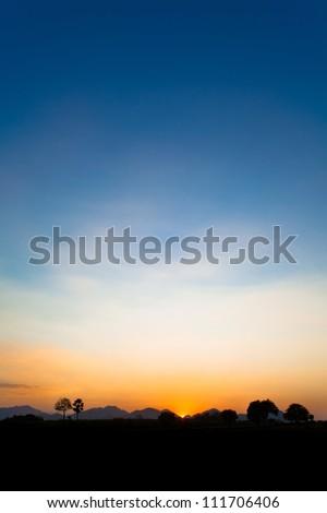 Beautiful Sunset, Silhouette. KAOYAI, THAILAND