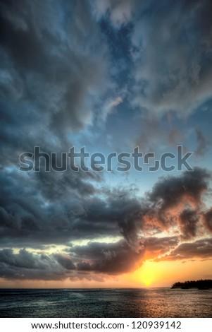 Beautiful sunset sky in Mauritius