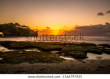 Beautiful Sunset sky over the surface of the sea. Kuta, bali Indonesia.