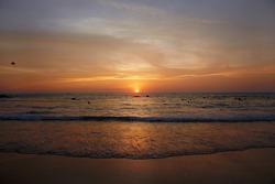 beautiful sunset. sunset beach view photo. Nature wallpapers. indian ocean