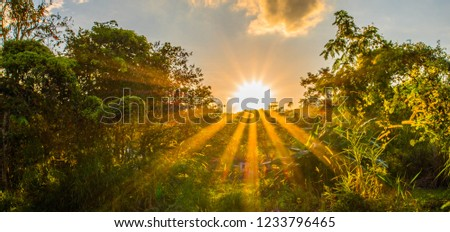 Beautiful sunset view from mountaintop. Banner background.