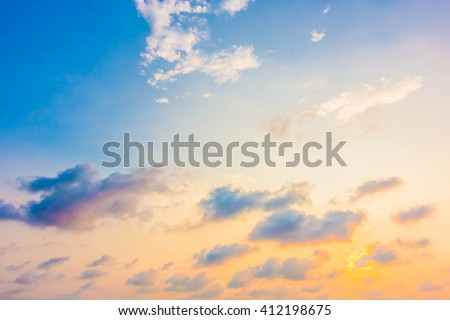 Beautiful sunset with cloud on sky background - Boost up color Processing #412198675