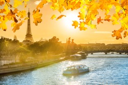Beautiful sunset with Eiffel Tower and Seine river in Paris with orange autumn falling leaves, Paris France